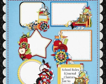 On Sale 50% Off Digital Scrapbooking Kit School Rules Journal Cluster Cards - Digital Scrap Kit