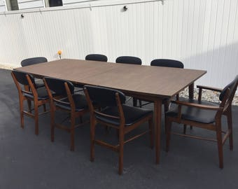 Danish modern dining table and 8 chairs by Basic Witz