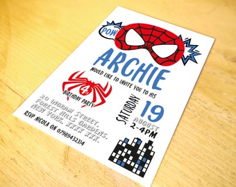 Spiderman Superhero Party Invitations • Qty 50 - 99 • including Envelopes