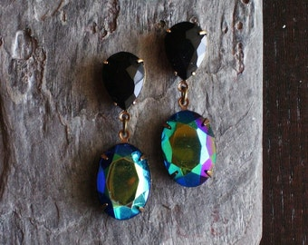 Statement earrings, glass jewel earrings, dangle earrings, stud earrings, estate style earrings, holiday party, unique holiday gift ideas