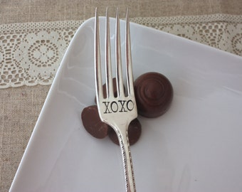 XOXO - Hand Stamped Spoon or Fork - Vintage Gift -  Every Day Vintage, Valentines Day  - hugs and kissed