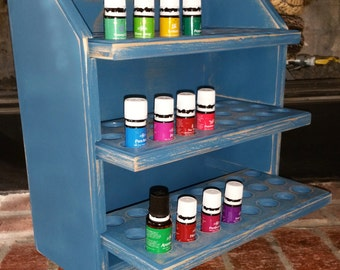 Essential oil storage shelf (holds 72 bottles) shabby chic/blue