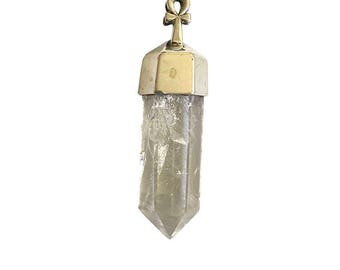 Sterling Silver Natural Crystal Point Pendant With the Key of life