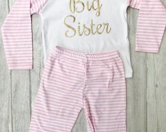 Big Sister Pink & White stripe Pyjama Set, Newborn Baby Girl, Sisters, Princess, Sleepwear, Cosy, Soft, Gift Present Family Cute Love Pjs