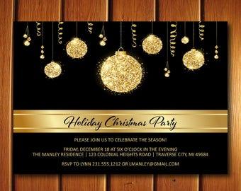 Gold Christmas Invitations, Elegant Christmas Party Invitation, Printable Company Invite