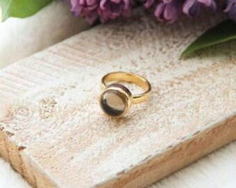 Smoky Quartz Engagement Ring, Smoky Quartz Goldplated Ring