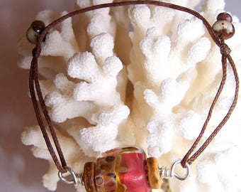 waxed cotton and Glass Bead Bracelet