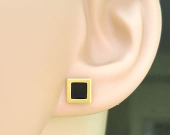 Gold Stud Earring, Gold Black Earring, Square Earring, Tiny Stud Earring, Minimalist Earring, Gold Woman Earring, Delicate jewelry, Small