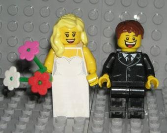 LEGO Bride Groom Minifigures Blonde / Brown Hair WEDDING CAKE Topper New