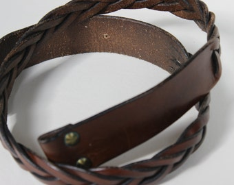 Leather Braided Brown Belt Replacement Strap Double Snap
