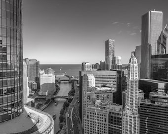 B&W Chicago Photography, Chicago Architecture, Chicago River Mouth, Lower Wacker Dr, Chicago from Above, Chicago Skyscrapers, Aon Center