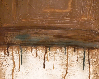 Abstract Brown and Slate Blue Painting 24 x 36 - Abstract 030 - Modern Art and Contemporary Abstract Acrylic Painting Wall Art FREE SHIPPING