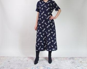 90s navy blue floral button down viscose dress