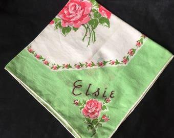 """vintage ROSE PRINT HANKIE """"Elsie"""" hankies hanky Collectible hankies H-121"""