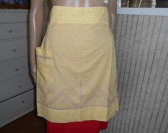 Vintage Apron/Yellow-White Checked Cotton Apron with Purple Cross Stitch Design