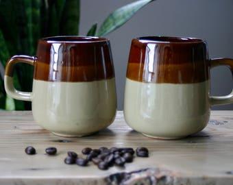 vintage | ceramic  | pair of mugs | stoneware | three-toned | set | brown | retro | made in Taiwan