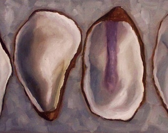 Oil Painting Four Oyster Shells  1 ft by 2ft  painting, still life by Velma Serrano