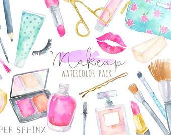 Watercolor Makeup Clipart | Cosmetics Clipart - Fashion and Beauty - Lipstick, brushes, blush, perfume - Planner Clipart - Instant Download