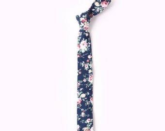 "Navy Blue Floral Skinny Tie 2.36""| floral tie | flower tie | skinny tie | wedding tie | wedding ideas | ideas | groom |  white |"