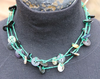 woven necklace // green black // triple strand // multi strand // vintage buttons // hemp twine // eco gifts