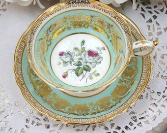 English Teacup and Saucer, Paragon Fine Bone China Teacup - Teal Green Teacup, Floral Teacup Set, Gold Filigree, c1960s, Vintage Tea Party