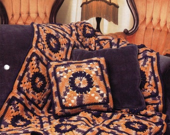Vintage Annie's Attic Victorian Squares and Pillow Crochet Pattern - Afghan, Bedspread, Granny Square