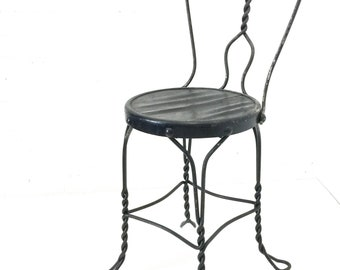 Vintage Ice Cream Parlor Chair, Wrought Iron Sweetheart Back, Black Metal Stool Wood Seat
