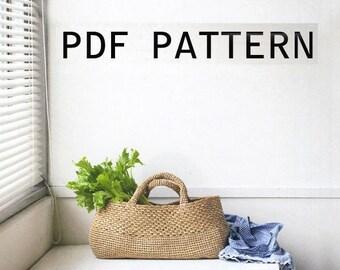 PDF download crochet raffia summer beach tote bag pattern