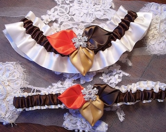 Fall Bridal Garter Set in Ivory Satin with leaves in Chocolate Brown, Harvest Gold & Persimmon