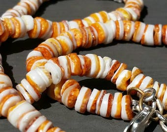Orange Spiny Oyster Necklace, Rare Beaded Jewelry, Layering Necklaces