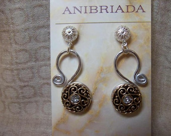 Free Form Silver with Gold n Crystal Swirls Earrings