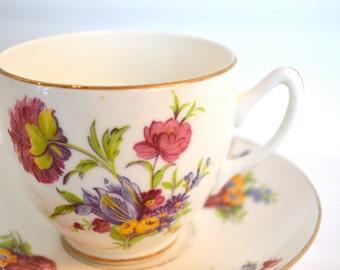 Vintage duchesse Fine Bone China tasse et soucoupe, Bouquet multicolore, or doré, en Angleterre