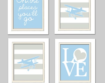 Nursery Art, Blue and gray nursery, Airplane Nursery, Plane Nursery, Set of 4, 8X10, Airplanes, Oh the places