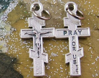 2 Tiny Silvery Byzantine Cross Charms - Crucifix Charms - Orthodox