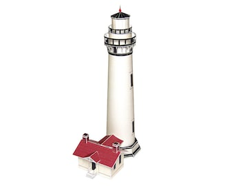 Pigeon Point Lighthouse || California Historical Landmark || full color paper model kit || 7 inches = 17 cm tall