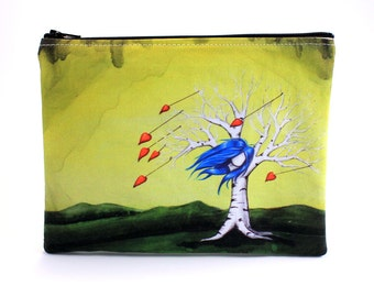 Loves Like A Hurricane - Zipper Pouch - Whimsical Girl Tree With Blue Hair and Hearts Blowing in the Wind - Art by Marcia Furman