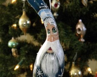 Hand Painted Blue Crystal Snowflake Santa Gourd Ornament - Folk Art Santa - Primitive Santa - Christmas Ornament - Holiday Decor - Gourd