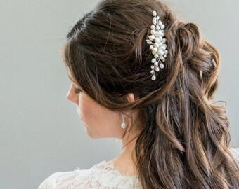 Bridal Hair Comb, Freshwater Pearl Bridal Hairpiece, Bridal Hairpiece, Bridal Hair Clip