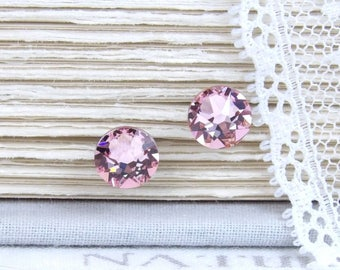 Pink Studs Swarovski Studs Pink Stud Earrings Rhinestone Studs Gift For Her Crystal Studs Surgical Steel Studs