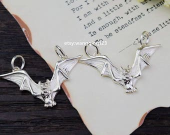 2 sterling silver bat charm pendant charms pendants S2