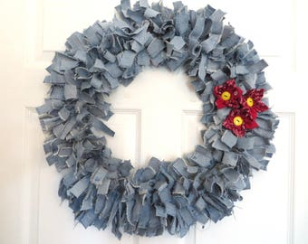 Recycled Denim Wreath With Bandanna Flowers