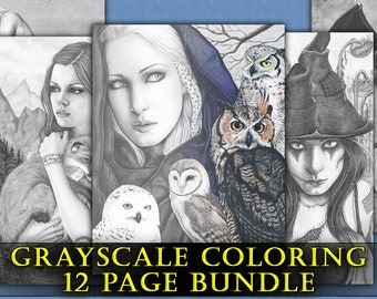 Gothic Coloring Pages For Adults : Grayscale coloring pages little wing package