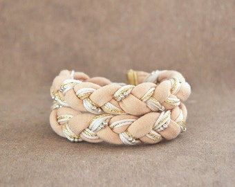 Beige braided wrap bracelet, jersey bohemian chunky bracelet in cream color