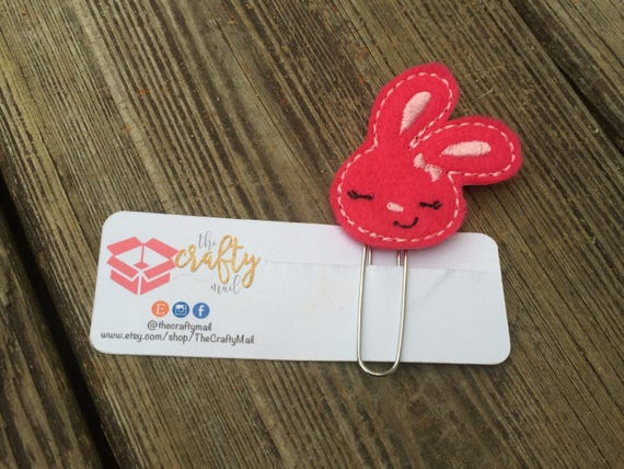 Cute Bunny Face Planner Clip/Planner Clip/Bookmark. Easter planner clip