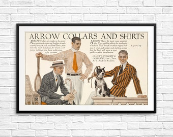 Men's clothing, Arrow Collars, Arrow Shirts, men's shirts, men's room art, men's room decor, man cave prints, menswear ads, antique ads