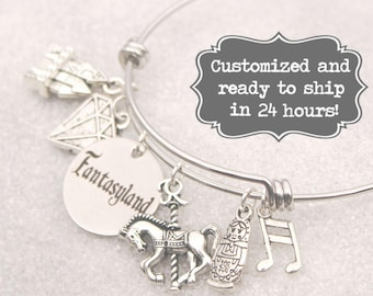 Fantasyland - Engraved DISNEY Inspired, Walt Disney World Disneyland, Mine, Castle, Carousel Custom Name Charm Bracelet, Adjustable Bangle