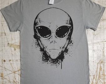 Alien Grey on Gravel Grey tee shirt