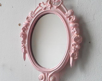 Vintage Framed Mirror In Pink Whisper Small Ornate 6 By 4 Inch Oval Frame