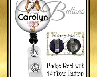 Custom Badge Reel, Personalized Cat Badge Reel, Veterinary Reel, Custom Name Badge Reel, Retractable Badge Reel, Secretary Gift, BRA001