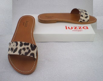 Slippers Iuzza Viareggio, real leather and real leather spotted with satin, handmade 100% made in Italy.